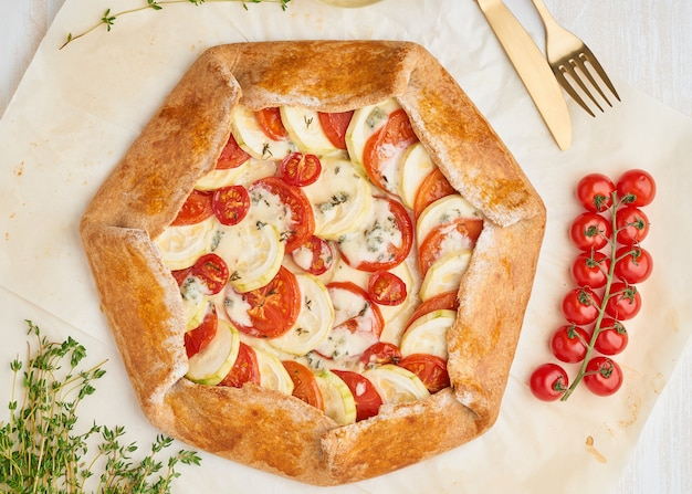 Step by step recipe. homemade galette with vegetables
