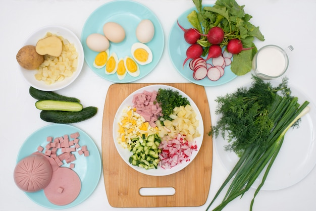 Step by step recipe for russian cold okroshka soup