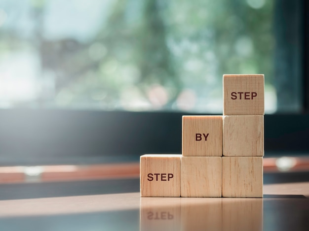 Step by step, words on wooden cube blocks arranging stacking as step stair on desk and green nature background with copy space. business management, growth success process concept.