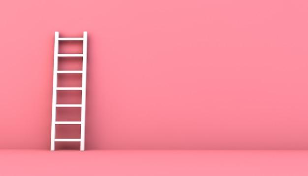 ピンクの壁にはしご
