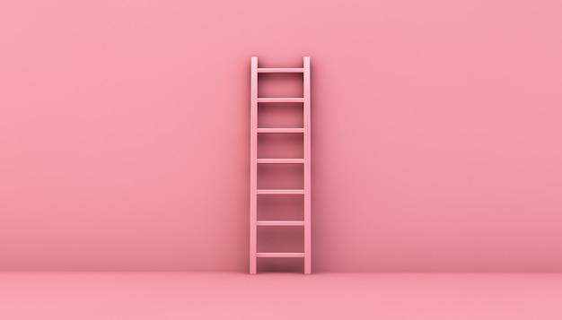 분홍색 벽에 단계 사다리