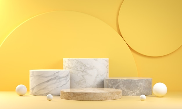 Step marble set podium display collection for presentation products on yellow background 3d render