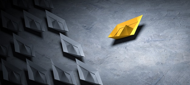 Step out of your comfort zone - paper boat change direction. 3d render