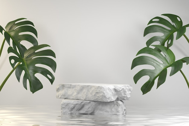 Step stone slabs display podium on water ripple with monstera background 3d render