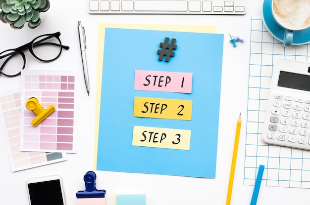 Step to success and business development with text on desk