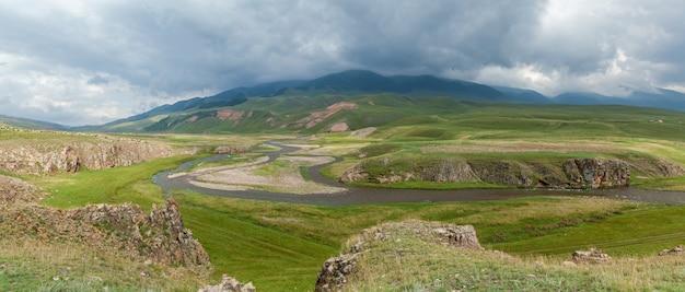 Steppe kazakhstan, trans-ili alatau, plateau assy, river-bed of the mountain rivers