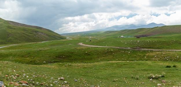 Steppe kazakhstan, trans-ili alatau, plateau assy, a road is in mountains