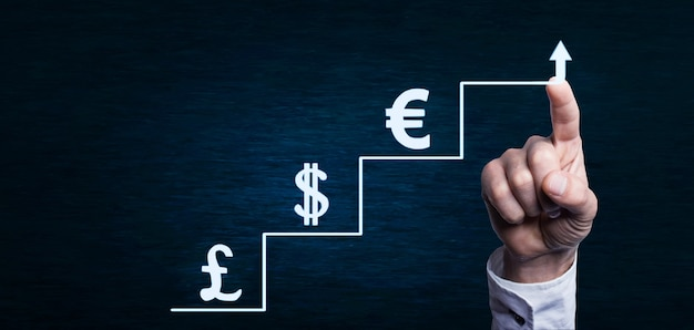 Steps to success and growth of money concept