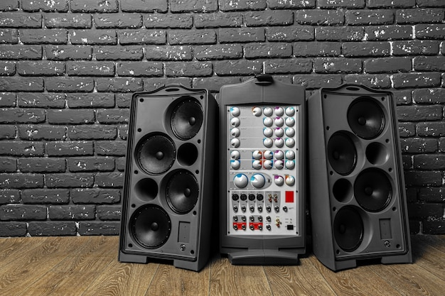 Stereo audio system with large speakers and amplifier