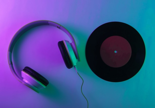 Stereo headphones with a vinyl record