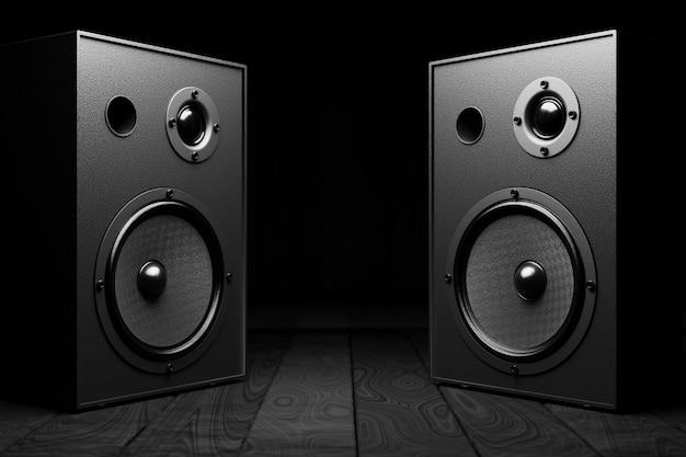 스테레오 음악은 어두운 배경에 검정색으로 표시됩니다. 기둥 사이에 디자인을 위한 공간입니다. 3d 렌더링.