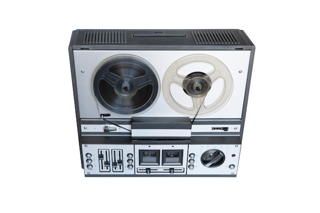 Stereo tape deck recorder player with reels on background