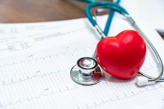 聴診器と赤い心臓ハートCheck.Conceptヘルスケア。