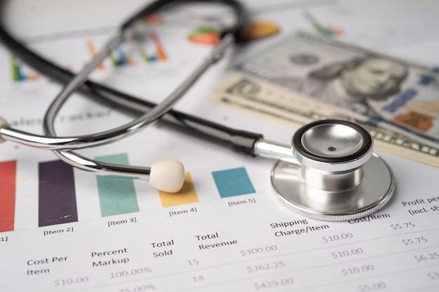 차트 또는 그래프 용지에 청진기와 미국 달러 지폐, 금융, 계정, 통계 및 비즈니스 데이터 의료 건강 개념.