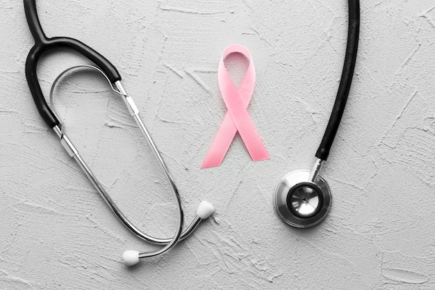 Stethoscope around breast cancer ribbon
