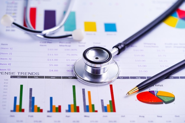 Stethoscope, charts and graphs spreadsheet paper