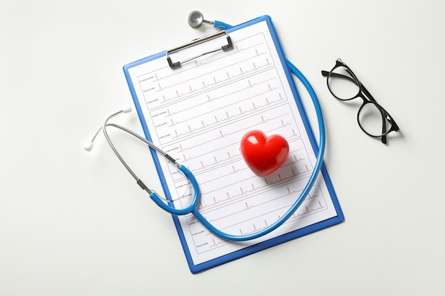 Stethoscope, clipboard with electrocardiogram, heart and glasses on white