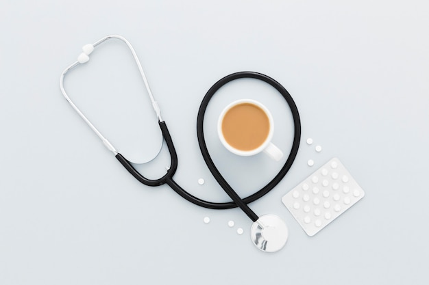 Stethoscope and coffee