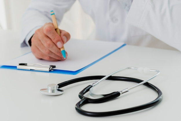 Stethoscope on desk defocused