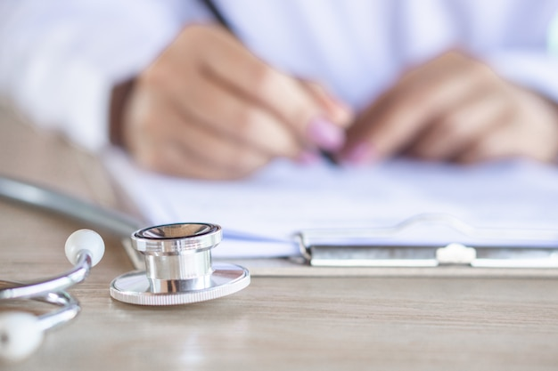 Stethoscope on desk of doctor