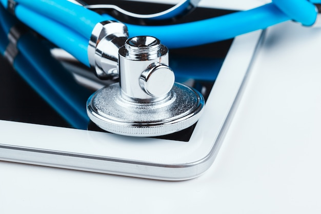 Stethoscope and a digital tablet.