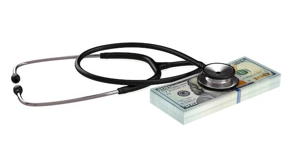 Stethoscope and dollar bills