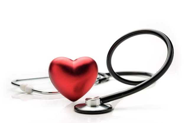 Stethoscope and heart symbol isolated on white background. the concept of modern medicine.