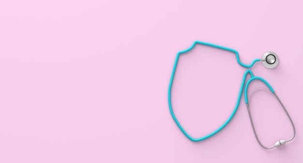 분홍색 배경에 방패 형태의 청진기. 3d 렌더링입니다.