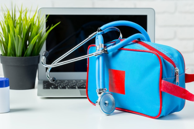 Stethoscope on modern laptop computer. healthcare concept