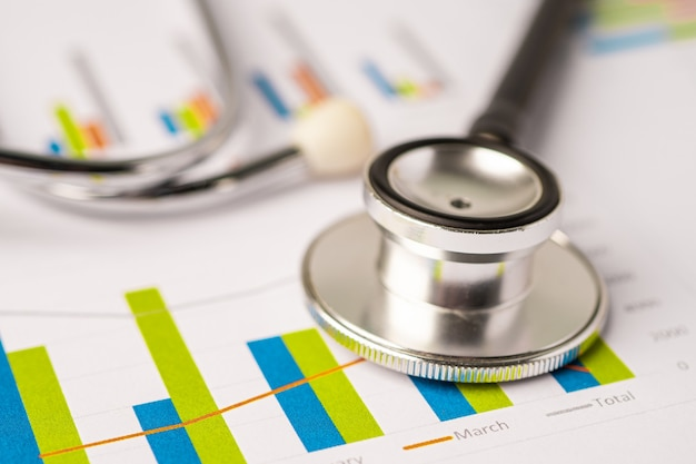 Стетоскоп на миллиметровой бумаге диаграммы, финансы, счет, статистика, аналитическая экономика бизнес-концепция.