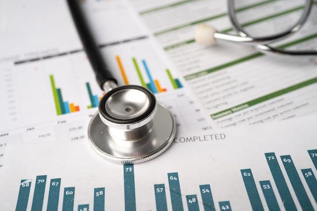 Стетоскоп на диаграммах и миллиметрах финансовый счет статистика инвестиции