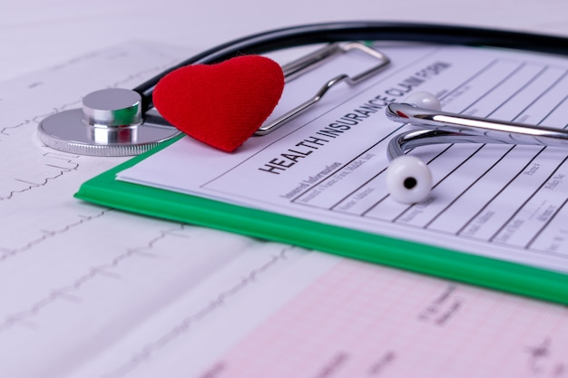 Stethoscope, red heart, cardiogram char