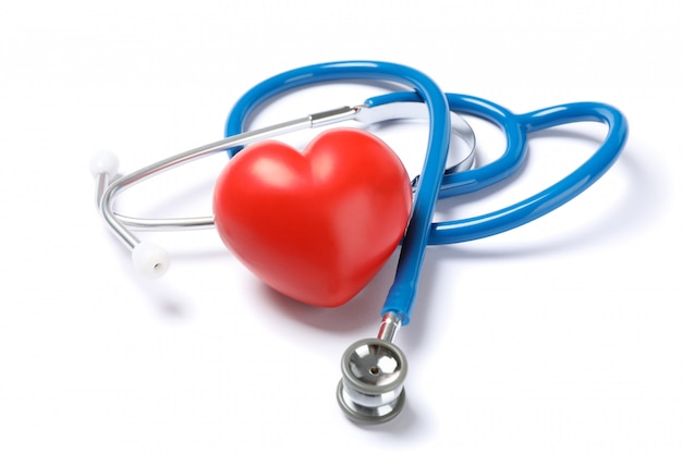 Stethoscope and red heart isolated on white background