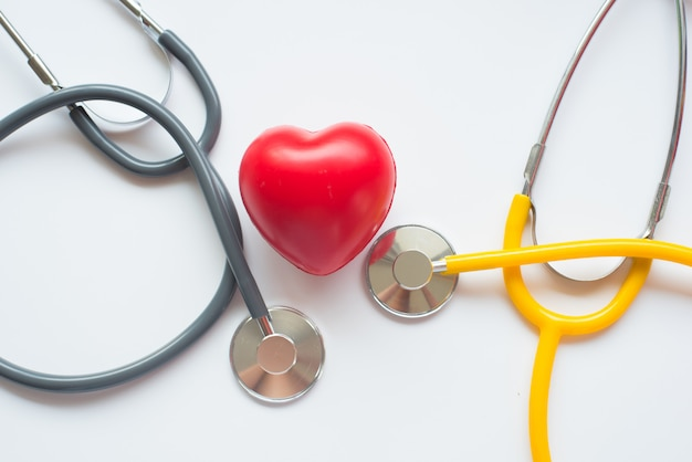 Stethoscope and red heart symbol of health day and good healthy life