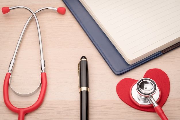 Stethoscope and red heart symbol, healthcare, medicine and insurance