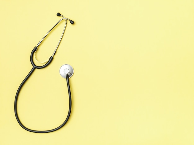 Stethoscope and space for text on color background