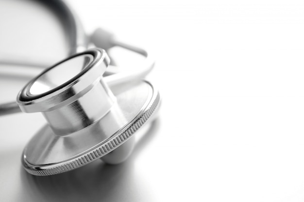Stethoscope on white background close-up and a place for your text