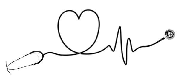 심장 박동과 청진 기. 흰색 절연