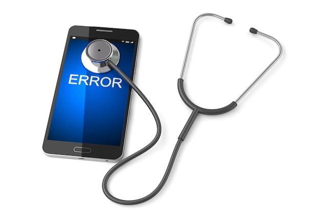 スマートフォンと聴診器、白い背景、電話の修理の概念
