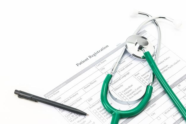 Stethoscopes and patient registration form