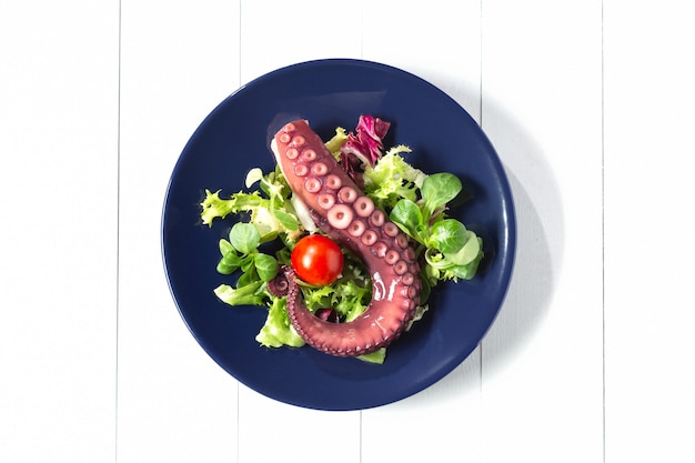 Тушить щупальца осьминога на синем блюде. белый фон вид сверху.