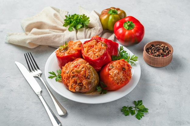 Stewed bell pepper stuffed with turkey meat rice and vegetables
