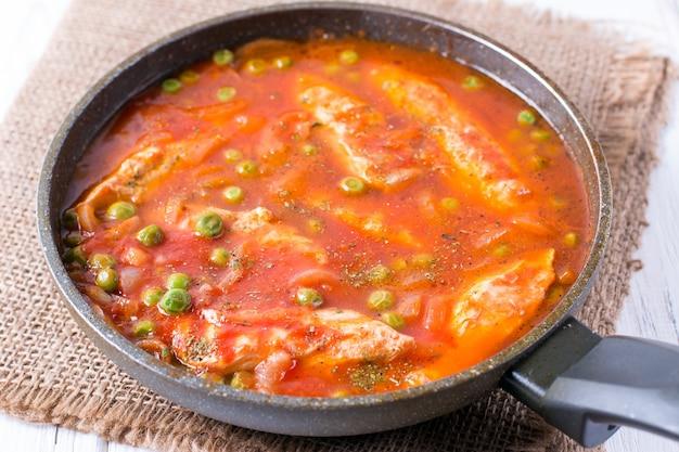 フライパンに鶏胸肉のトマトソース煮込み