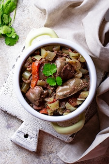 Stewed chicken liver with vegetables