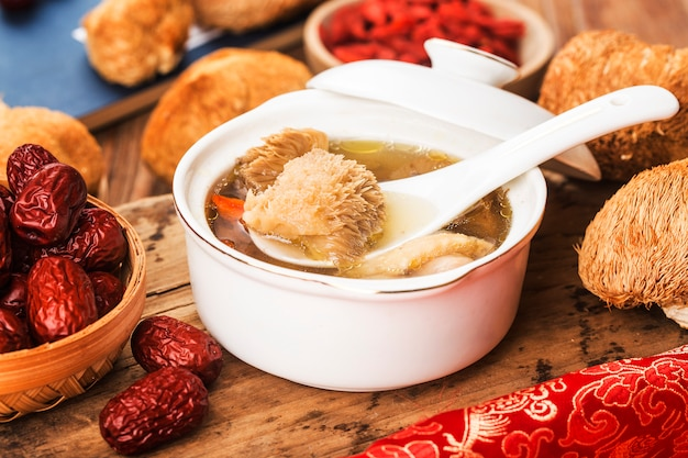 Stewed chicken soup with herbs