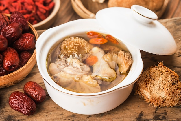 Stewed chicken soup with hericium erinaceus chinese cuisine