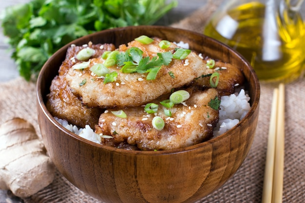 Stewed fish with rice in a bowl
