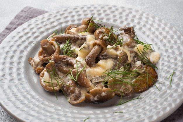 Stewed mushrooms in sauce with sour cream and cheese on a plate