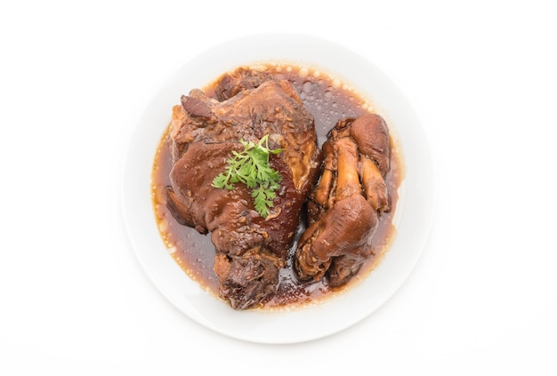 Stewed pork leg in gravy soup
