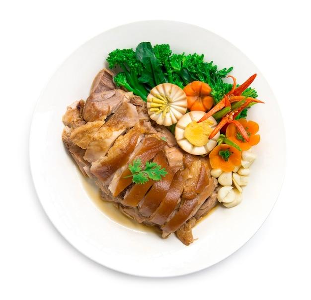 밥과 계란을 넣지 않은 돼지 다리 조림, 브라운 스위트 소스
